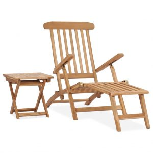 vidaXL Garden Deck Chair with Footrest and Table Solid Teak Wood