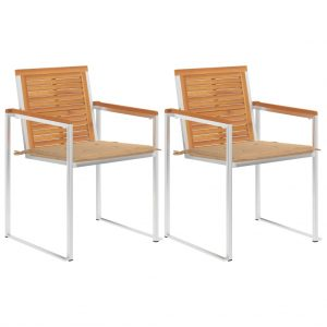 vidaXL Garden Chairs with Cushions 2 pcs Solid Acacia Wood and Steel