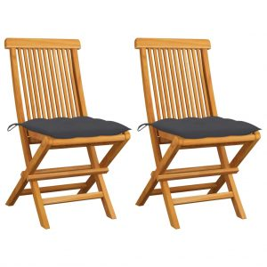 vidaXL Garden Chairs with Anthracite Cushions 2 pcs Solid Teak Wood