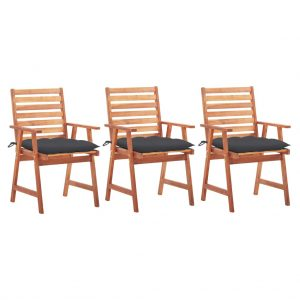 vidaXL Outdoor Dining Chairs 3 pcs with Cushions Solid Acacia Wood