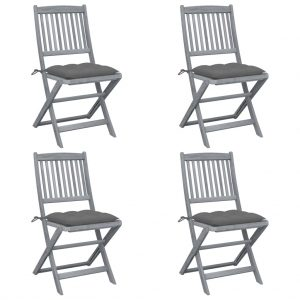 vidaXL Folding Outdoor Chairs 4 pcs with Cushions Solid Acacia Wood