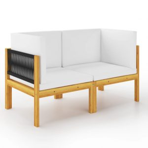 vidaXL 2-seater Garden Bench with Cushions Solid Acacia Wood